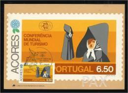 PORTUGAL - AÇORES - S. MIGUEL - TRAJE - CONFERÊNCIA MUNDIAL DE TURISMO - BPA 5 - 2 SCANS - CARTE MAXIMUM - MAXICARD - Cartes-maximum (CM)
