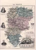 AISNE CARTE GEOGRAPHIQUE MIGEON  1 / 556 000 Portrait Martin Racine La Fontaine - Laon - Geographical Maps
