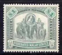 77083 - Malaya - Federated Malay States 1904 MCA $1 Green & Pale Green Fine Mounted Mint SG 48a Cat &pou - Stamps