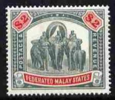 101832 - Malaya - Federated Malay States 1922-34 Elephants $2 Green & Carmine Mounted SG 78 - Stamps