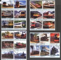 Angola 2000 Trains 4 Different Blocks Of 6 CTO - Angola