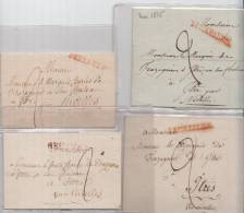 PRECURSEUR NOBLESSE LOT DE 4 DEVANT DE LETTRE POUR LE COMTE MARQUIS DE TRAZEGNIES CHATEAU ITTRES PAR NIVELLES - 1815-1830 (Dutch Period)
