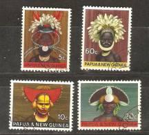 PAPUA NEW GUINEA - 1968 HEADDRESSES SET OF 4 USED  SG 125-8  Sc 253-6 - Papua New Guinea