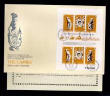 1978(15/04)SUPERB FDC WITH EXPLANATION-Y.T. 369-371 GAMBIA 25TH.  ANNIV.CORONATION ELISABETH II - Nouvelles-Hébrides