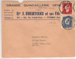 OYNNAX (01) : LETTRE AVEC PUBLICITE.afft. N° 686 Et 693 Obl. En 1948 - Postmark Collection (Covers)