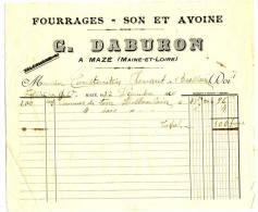MAZE  - Maine Et LOIRE - Germain DABURON -  Fourrages - Son Et  Avoine - Agriculture