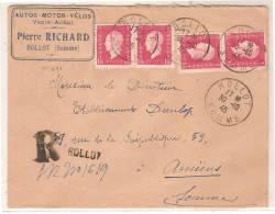 ROLLOT (80): LETTRE A EN TETE, RECOMMANDEE PRIVISOIRE, AFF. N° 691 (2paires) OBL. EN 1945 - Postmark Collection (Covers)