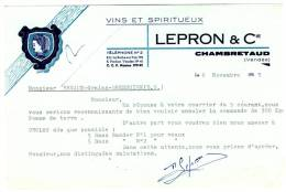 85 CHAMBRETAUD. - LEPRON & CIE. - VINS ET SPIRITUEUX - Agriculture