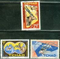 REPUBBLICA DI CIAD, CHAD, REPUBLIQUE DU TCHAD, ANIMALI AFRICANI, 1965, FRANCOBOLLI ANNULLATI, Scott 106,107,109 - Tchad (1960-...)