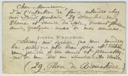 Autographe / Carte De Visite Joseph Wieniawski, Pianiste Et Compositeur. Pologne. Invitation Au Gendre De M. Elkan. - Autogramme & Autographen