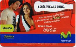 Lote TT20, Colombia, Tarjetas Telefonicas, Phone Cards, Coca Cola,  Movistar, 20.000, Coke, Used - Colombia