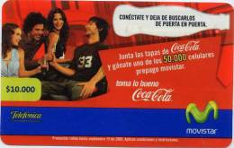 Lote TT19, Colombia, Tarjetas Telefonicas, Phone Cards, Coca Cola,  Movistar, 10.000, Coke, Used - Colombia