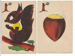 2 Cartes De Jeu / Ecureuil Mangeant Une Noisette / Fruit Noisette / Squirrel And Hazelnut Nuts // IM 109 - Old Paper