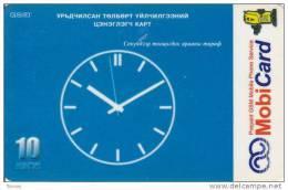 Mongolia, Mon-031, MobiCom, Clock In Blue, 2 Scans.