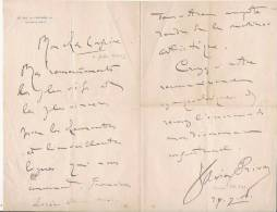 XAVIER PRIVAS  (1863 1927) CHANSONNIER FRANCAIS LETTRE A SIGNATURE - Autographes