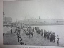 Ecosse , Le Tsar Et La Tsarine Quittant Les Docks De Leith , Gravure De Sgap 1896 - Documenti Storici