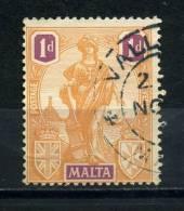 MALTA    1922     1d   Orange  And  Purple      USED - Malta