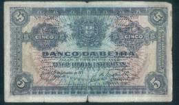 Mozambique - Beira  - Billet Circulé De 5 Livres - 1919 - Usé  Défaults - Mozambique