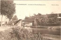 Ay En Champagne .le Canal  Et Le Pont Du Chemin De Fer - Ay En Champagne