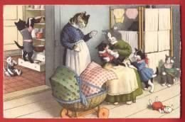 Y0358 CHATS MIS EN SCENE - PAR MINOUVIS. Cachet Chambrelien 1950 Künzli 4731 - Cats