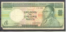 Congo Ex Belgian 500 Makuta  Ou 5 Zaïres 1968  VF - Congo