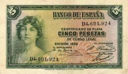 5  Banco De Espana  5  D4, 601, 924 - [ 2] 1931-1936 : République