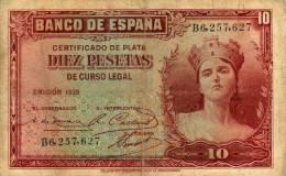 10  Banco De Espana  10  -  B6, 257, 627 - [ 2] 1931-1936 : République