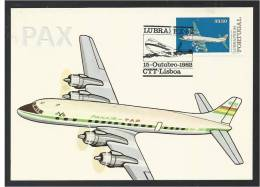 PANAIR TAP - BRASIL PORTUGAL - DOUGLAS DC 7C SEVEN SEAS - LUBRAPEX 82 - BPC 22 - 2 SCANS - CARTE MAXIMUM - MAXICARD - 1946-....: Moderne