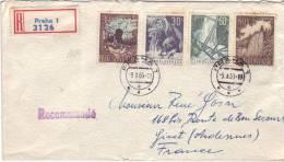 """Recommandé De Tchécoslovaquie Avec 4 Timbres """"Paysages"""" De Praha (Prague) Vers Givet (3/10/1963° - Czechoslovakia"""