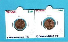 TAIWAN  5 CHIAO BRONCE 1.988 SC/UNC Y#550     DL-1865 - Taiwán