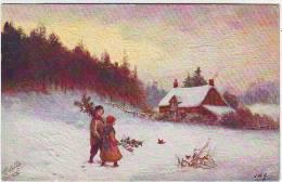 ILLUSTRATEURS. OILETTE. RAPHAËL TUCK & Sons. THE COUNTRYSIDE. N : 9856. CARTE GAUFREE. J.W. G. - Tuck, Raphael