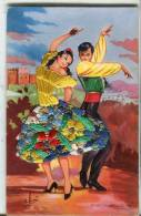 SUPERBE CARTE AVEC AJOUT DE TISSU  -  BAILES ANDALUCES - Embroidered