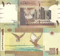 Sudan P-64, 1 Pound, Pigeons / Bank Of Sudan Building, Khartoum - Sudan