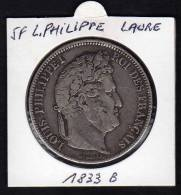 Ecu 5 F Argent LOUIS PHILIPPE I. Tête Laurée. 1833 B. Tranche En Relief. TB - France