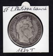 Ecu 5 F Argent LOUIS PHILIPPE I. Tête Laurée. 1834 T. Tranche En Relief. TB - France