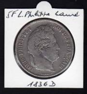 Ecu 5 F Argent LOUIS PHILIPPE I. Tête Laurée. 1836D. Tranche En Relief. TB - France