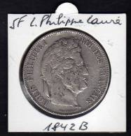 Ecu 5 F Argent LOUIS PHILIPPE I. Tête Laurée. 1842B. Tranche En Relief. TB - France