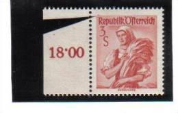 ZUB150 ÖSTERREICH 1948/52 VOLKSTRACHTEN ANK 918 Y Senkrechte Riffelung ** - Abarten & Kuriositäten