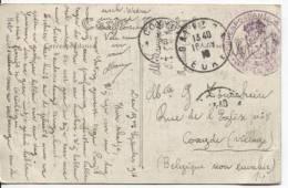 CP En SM C.Gaillon Eure+c.Mauve Correspondance Privée Armée Belge V.Coxyde C'd'arrivée PR129 - Zona Non Occupata