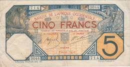 SENEGAL - DAKAR - AFRIQUE OCCIDENTALE ** BILLET 5 FRANCS 7 Février 1926 - W 3044 - 714 ** ACHAT IMMEDIAT - Sénégal