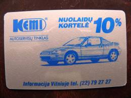 Plastic Card From Lithuania, Discount Card, Auto Car Kemi - Unclassified