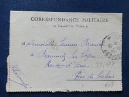 32/627  CORRESP. MILITAIRE  1918 - Oorlog 1914-18