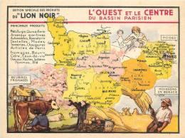 CHROMO LE LION NOIR  REGION FRANCAISE     L OUEST ET LE CENTRE - Chromos