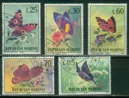 San Marino  1963  Schmetterlinge  (5 Gest. (used) Kpl. )  Mi: 776-80 (1,20 EUR) - Saint-Marin