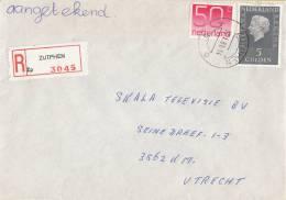 Nederland - Aangetekend/Recommandé Brief Vertrek Zutphen - Aantekenstrookje Zutphen 3045 - Poststempel