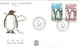 TAFF ENV FDC 1980 MANCHOT - FDC