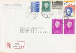 Nederland - Aangetekend/Recommandé Brief Vertrek Leiden - Aantekenstrookje Leiden Herenstraat 920 - Poststempel