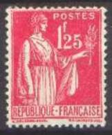 France Type Paix - N°  370 * 5ème Série Le 1fr25 Rose - 1932-39 Paix