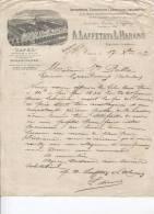 COURRIER DE 1897 - A. LAFFETAY ET HARANG - CAEN - CAFES - DISTILLERIE A VAPEUR - Francia