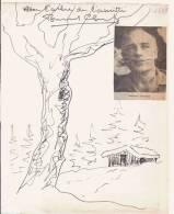 BERNARD CLAVEL (1923 LONS LE SAUNIER 2010) ECRIVAIN FRANCAIS DESSIN AVEC MOT AUTOGRAPHE 1969 - Autographes